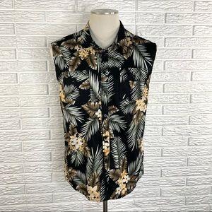 Jogal Mens Hawaiian Floral Sleeveless Shirt
